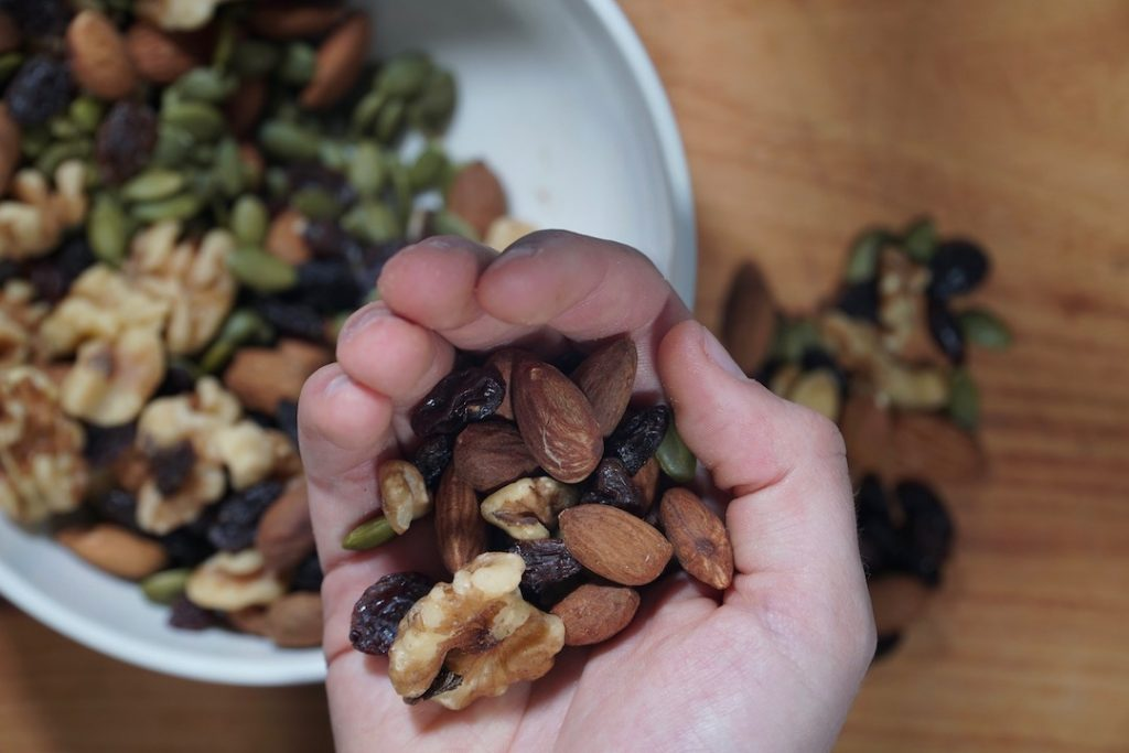 handful of homemade trail mix