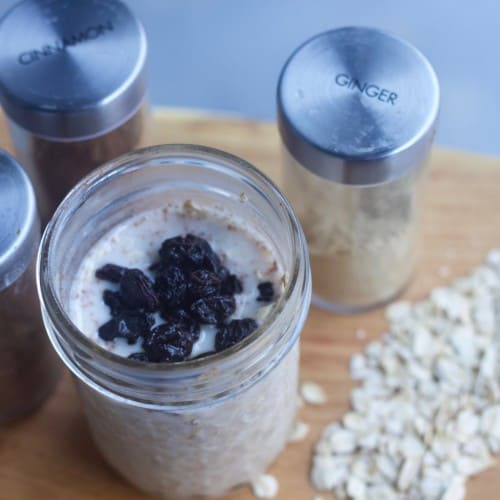 Overnight Oats base recipe with spices and oats
