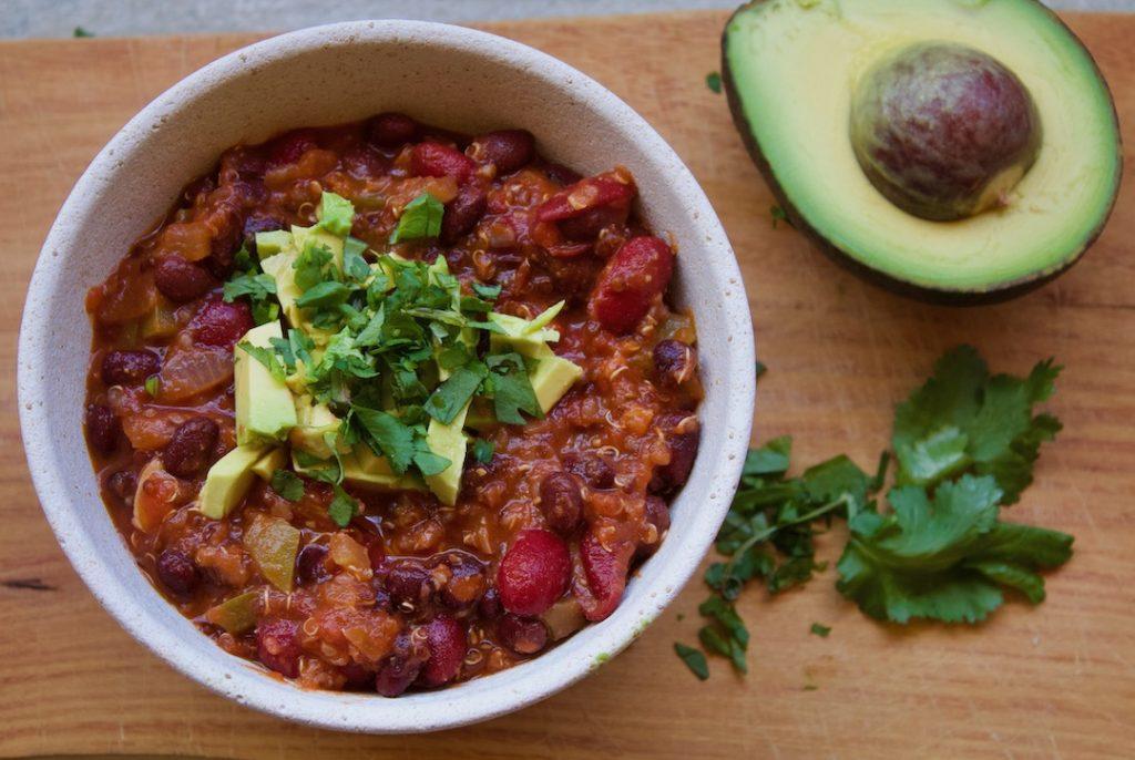 4 bean chili with avocado and cilantro