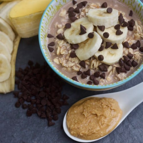 Chocolate Peanut Butter Overnight Oats with Banana
