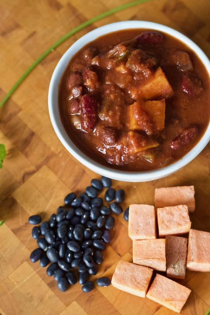 Sweet Potato Black Bean Chili with diced sweet potato and beans