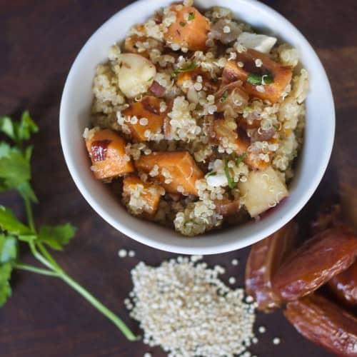 Sweet Potato Quinoa Salad with dates, apples, and feta