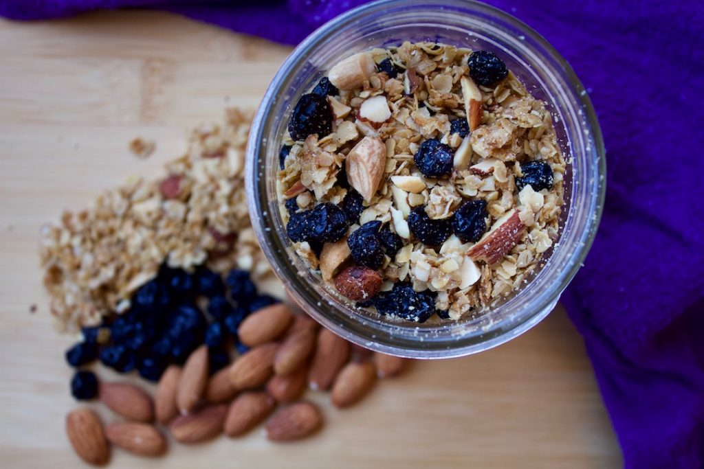 blueberry granola with oats, almonds, and cashews