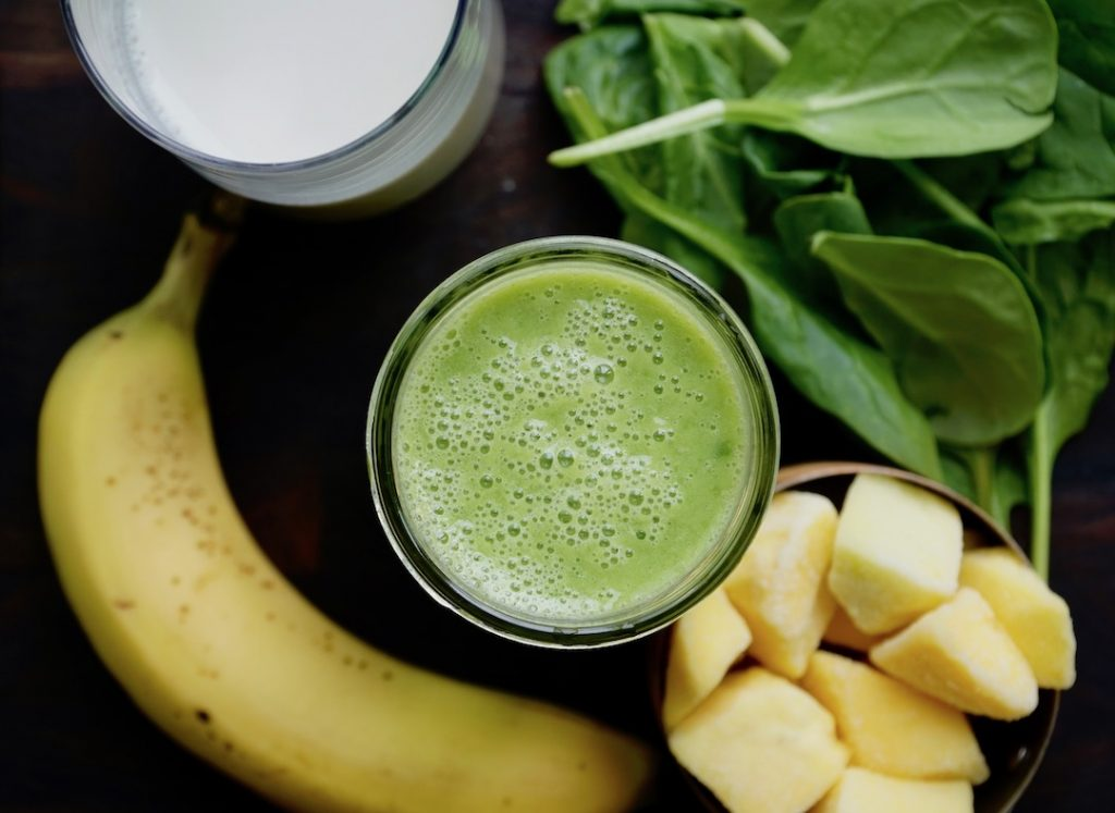 Dairy Free Smoothies - spinach, banana, almond milk, mango