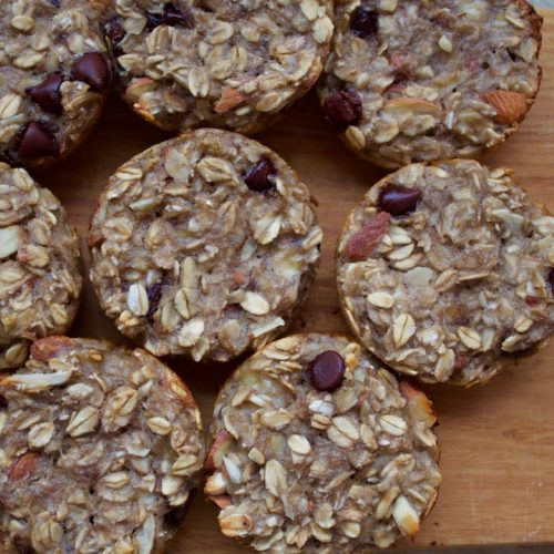 healthy baked oatmeal cups with oats, bananas, and nuts