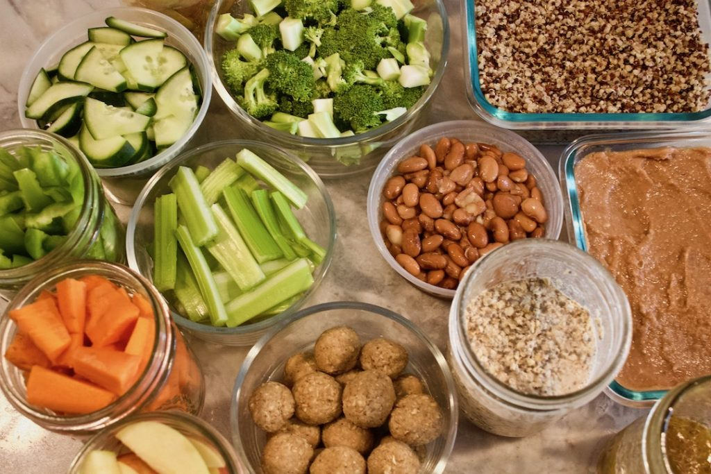 plant-based meal prep foods on a counter