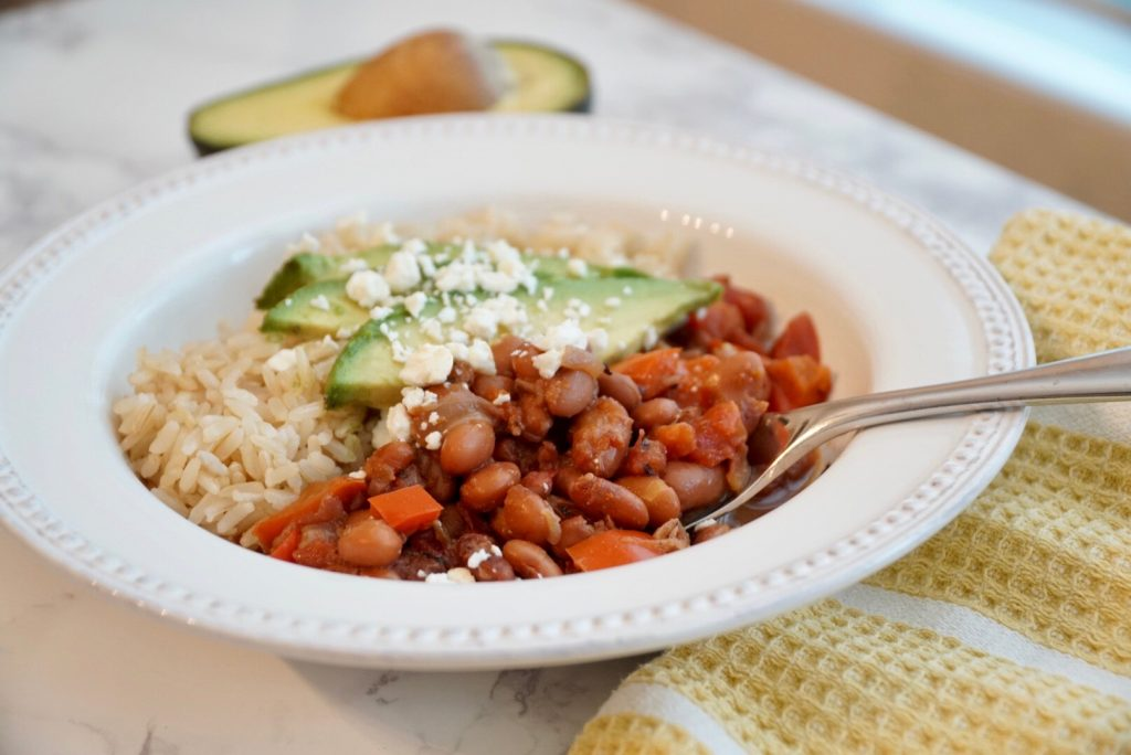 mexican pinto beans - instant pot with avocado, brown rice, and feta cheese