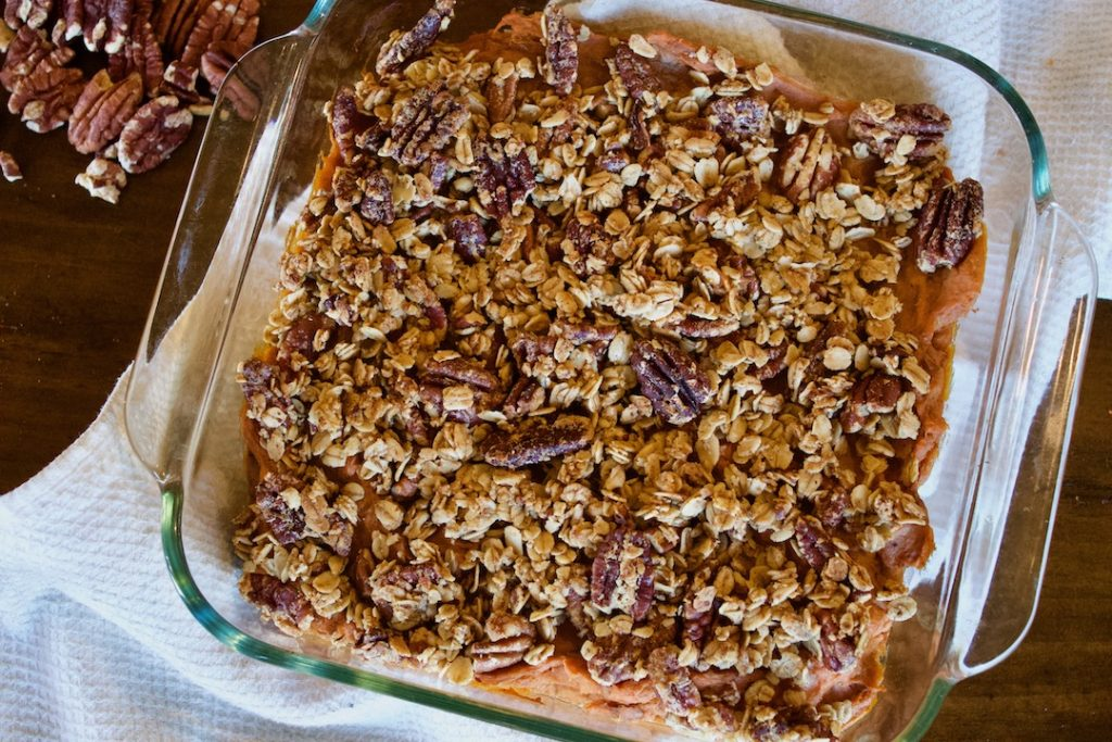 roasted sweet potato and banana casserole with pecans and granola topping