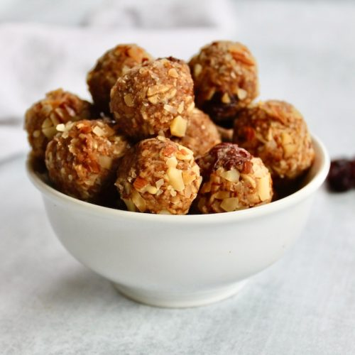 cranberry almond energy bites in a bowl