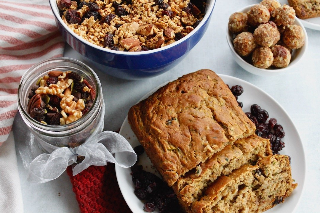 homemade food gifts: cranberry zucchini bread, cranberry almond energy bites, granola, trail mix
