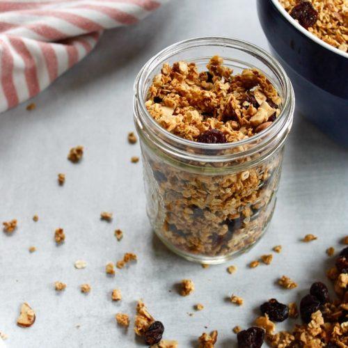 vanilla almond granola in a jar