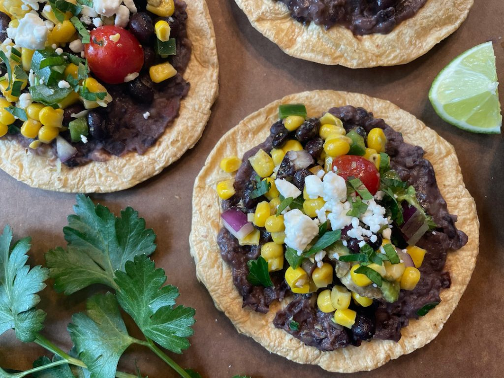 baked tostadas black bean corn
