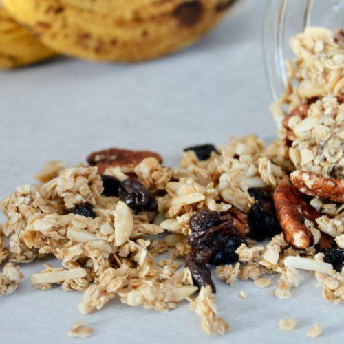 banana bread granola with pecans, almonds, and raisins