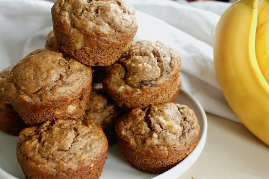 banana buttermilk muffins with ripe banana