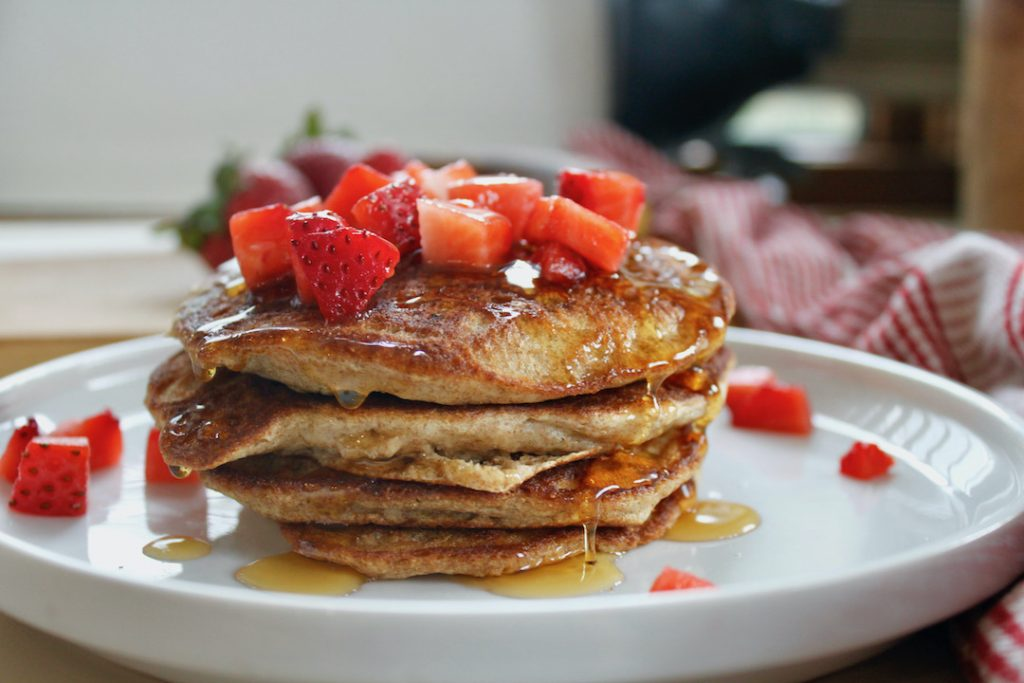 strawberry banana pancakes with fresh diced strawberries