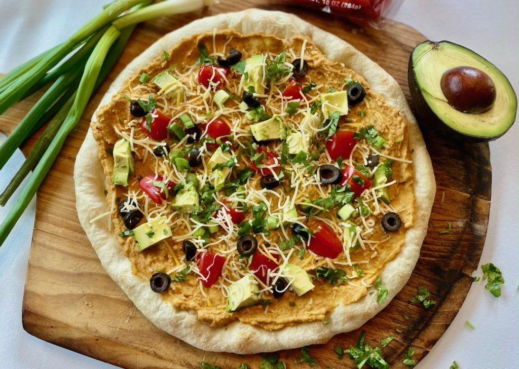 taco hummus flatbread pizza