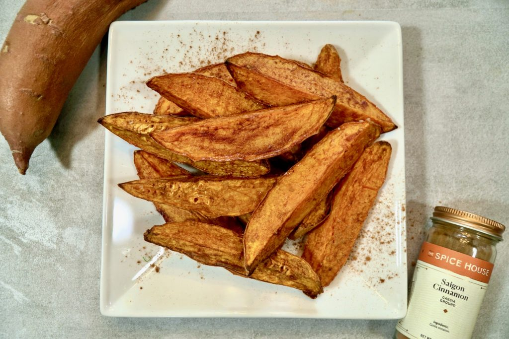 roasted sweet potato wedges with cinnamon